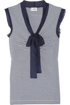 Philosophy di Alberta Ferretti Striped silk chiffon-trimmed cotton top. This season, choose Philosophy di Alberta Ferretti for a chic and feminine take on all things nautical. This classic striped cotton top is elegantly trimmed in silk-chiffon and finished with a pussy-bow - style yours with white pants and a shoulder bag to perfectly complete the look. Navy and white striped cotton, silk-chiffon trims. Pussy-bow, Slips on. Fabric1: 100% cotton; fabric2: 100% silk