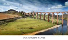 Download this stock image: Leaderfoot Railway Viaduct  across River Tweed near Melrose, Scottish Borders - BAPH55 from Alamy's library of millions of high resolution stock photos, illustrations and vectors.