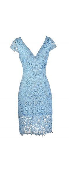 Doris Lace Capsleeve Midi Pencil Dress in Sky Blue  www.lilyboutique.com