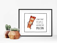 Home decor - print art - wall art -bacon art print - art print - print - I don't trust people who don't like bacon - bacon illustration by madeinhappy on Etsy Dont Trust People, Wands, Etsy, Art Prints, Wall Art, Handmade Gifts, Bacon Bacon, How To Make, Illustrations