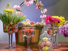 fun & bright Easter color ...  glass pedestals are so versatile for every season...