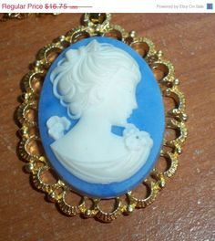 SALE Blue Cameo Necklace Pendant Victorian by VintageVarietyFinds