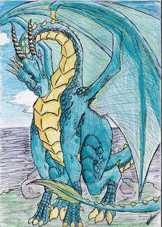 Blue dragon by Spirogs.deviantart.com on @DeviantArt