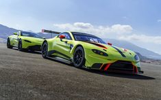 Aston Martin Vantage, GTE, 2018, sport racing coupe, green sports car, racing track, race, Aston Martin