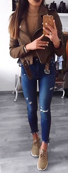 #winter #outfits  brown zip-up jacket and blue denim jeans