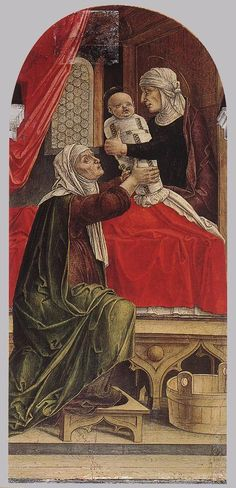 VIVARINI, Bartolomeo The Birth of Mary 1473 Tempera on panel, 104 x 50 cm Santa Maria Formosa, Venice