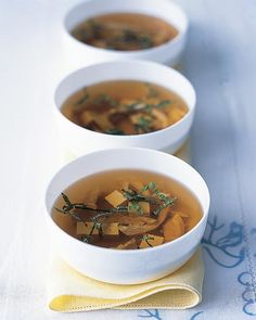 A mixture of dried mushrooms -- oyster, shiitake, and porcini -- create a heady broth for this chicken soup.