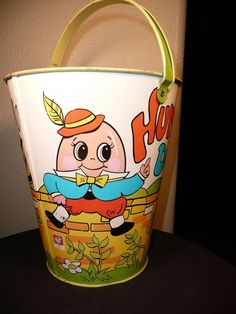 Vintage Ohio Art Humpty Dumpty Lithograph Sand Pail/Bucket