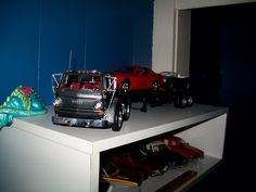 Dodge model truck, trailer, and Challengers.
