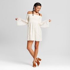 734e652136a Women s Lace Smocked Off the Shoulder Dress - Xhilaration Off The Shoulder