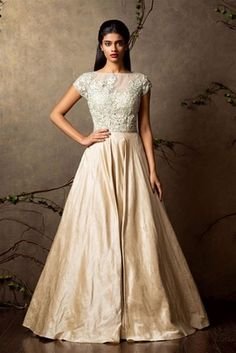 Cocktail Outfits - Champagne Colored Gown | WedMeGood Ash Gray Sheer Closed Neck Blouse, with Champagne Flared Gown with threadwork embroidery on blouse. #wedmegood #gown #champagne