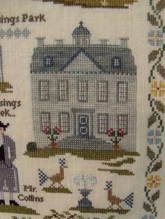 Rosings Park. Detail of Pride & Prejudice Jane Austen sampler cross stitch point de croix. willowtreestitcher.blogspot.com