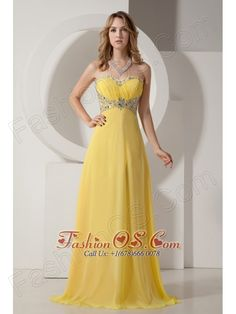 Beautiful Yellow Sweetheart Chiffon Prom Dress with Silver Beading- $159.23  https://pinterest.com/Fashionos/  http://www.youtube.com/user/fashionoscom?feature=mhee   This chic and elegant yellow prom dress is a good choice for you to any occasion. It features a gorgeous strapless bodice with intricate beadwork and sequins sewn in. The beaded waistband adds interest to the dress midsection and shows off your great figure at the same time.