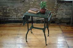 Vintage Green Metal Portable Typewriter Desk or Stand by territoryhardgoods on Etsy