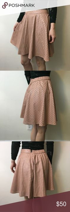 Sunday in Brooklyn Pink Eyelet Faux Leather Skirt Sunday in Brooklyn Skirt from Anthro wi a pink tan like faux leather body and is skater style with lining and a zipper closure! Anthropologie Skirts