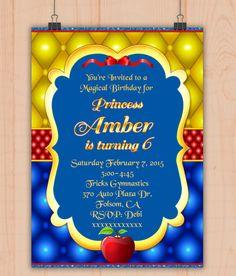 Princess Birthday, Princess Party, Snow White Birthday, 4th Birthday Parties, Digital Invitations, Youre Invited, Rsvp, Baby Shower, Cards