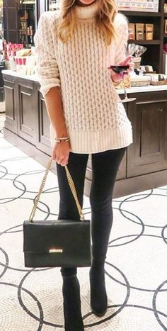 #cute #outfits White Knit Sweater // Shoulder Leather Bag // Black Booties // Leather Leggings