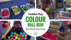 The toddler twosome have been naming colours excitedly everywhere we go lately so I am trying to encourage this new love with some different games. Color Activities, Physical Activities, Sorting Colors, Different Games, Toddler Play, Baby Education, Numeracy, Gross Motor, New Love