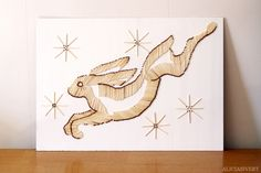 Jumping hare from safety matches, by Alicia Sivertsson 2015.