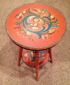 Museum Quality Norwegian Rosemaled Table Scandinavian Norway Rosemaling | eBay