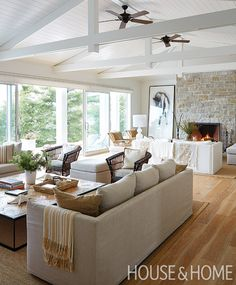 The great room's Caribbean-inspired white and wood palette sets the tone for the…