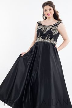 Rachel Allan (PLUS) 7849 Black Scoop Neck Ball Gown Prom Dress 22b388aa1dad