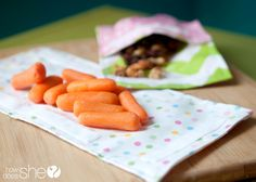 Cute Snacks Unite! DIY Reusable Snack Bags that completely unfold to use as a table cover and bags!