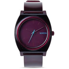 Nixon Time Teller Translucent Burgundy Watch, 40mm ($75) ❤ liked on Polyvore featuring jewelry, watches, purple, purple watches, nixon, nixon jewelry, nixon watches and purple jewelry