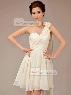 55114de9cd4 Short Chiffon Flower Bridesmaid Dress A-line One Shoulder Champagne Flower Bridesmaid  Dresses Low Key
