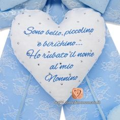 Cuore ricamo frase nome nonno Baby Co, Drink Sleeves, Veronica, Frases, Bebe