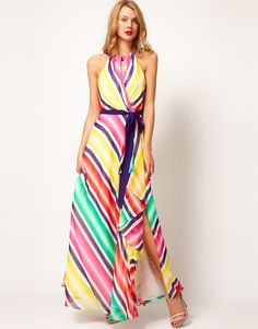 The colors are so great in this Coast Stripe Maxi Dress!