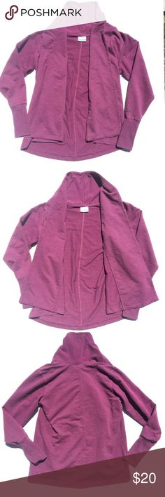 """Columbia Magenta Sweatshirt Open Hang Cardigan Comfy and soft sweater made of sweatshirt like material in a pretty dark pink / purple color. Long sleeves with extra long stretchy cuffs that are easily folded out of the way. Love this piece! Great at the gym or on cool summer evenings. It's 24.5"""" long down the back from the collar to the hem. Some light wear with slight pilling under the arms. Feel free to make an offer! Columbia Sweaters Cardigans"""