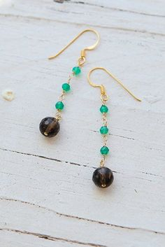 Green Onyx And Smoky Quartz Gemstones With Gold Vermeil Handmade Earrings. Magnolia Jewel Designs