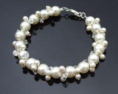 Pearl and Crystal Cluster Bracelet, Victoria Wedding Earrings, Wedding Jewelry, Wedding Bracelets, Pearl Bracelet, Pearl Necklace, Crystal Cluster, Luxury Wedding, Classic Style, Headbands