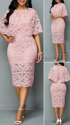 Half Sleeve Overlay Embellished Lace DressYou can find Lace dresses and more on our website. Latest African Fashion Dresses, African Dresses For Women, Women's Fashion Dresses, Fashion Styles, Latest Fashion, Half Sleeve Dresses, Lace Dress With Sleeves, Dress Lace, Pretty Dresses
