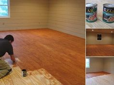 DIY Hardwood looking floors. Plywood stained and varnished. View stain