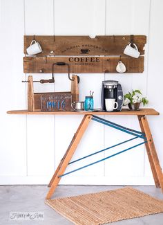 Reclaimed wood old sign coffee station / FunkyJunkInteriors.net