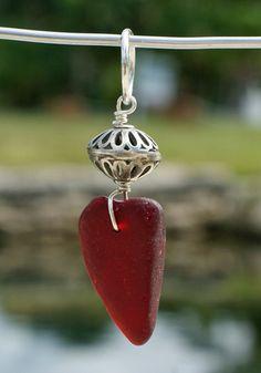Sea Glass Pendant, $135.00  Gorgeous Red!