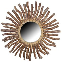"Rustic Wood Branch Burst Mirror - Hand Crafted from Sustainable White Fir Wood - Dimensions: 32"" Diameter - $93.00 + Free Shipping"