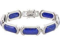20x10mm Fancy Shape Blue Cabochon Lapis Lazuli, .89ctw White Zircon Silver Gents Bracelet.