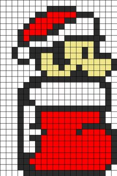 Mario Christmas Perler Bead Pattern | Perler Bead Patterns | Characters Fuse Bead Patterns