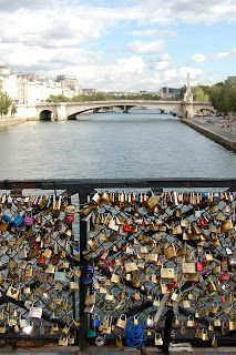 Lock bridge in Paris -- worth seeing! Had two friends place locks on this bridge and they are now married. :)