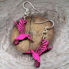 HUMMINGBIRD Green Tree Jewelry RHODAMINE laser-cut wood earrings 112 BLOSSOMS #GreenTreeJewelry #DropDangle