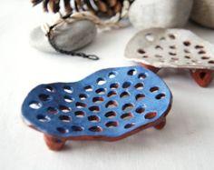 Azul accesorios de plato-baño de jabón jabón de plato de cerámica-jabón Jabonera titular-drenaje