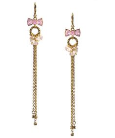 PINK CRYSTAL BOW LONG DROP EARRINGS - Betsey Johnson