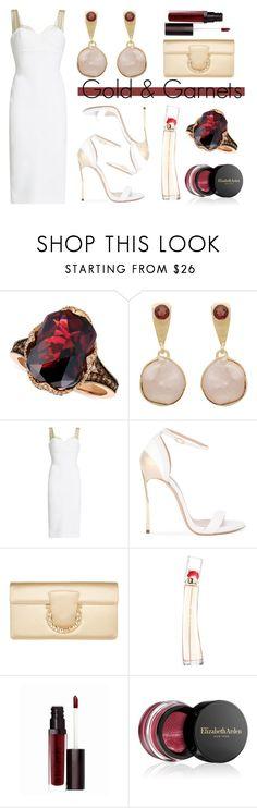 """Gold & Garnets"" by romaosorno ❤ liked on Polyvore featuring LE VIAN, Carousel Jewels, Victoria Beckham, Casadei, Salvatore Ferragamo, Kenzo, Laura Mercier and Elizabeth Arden"