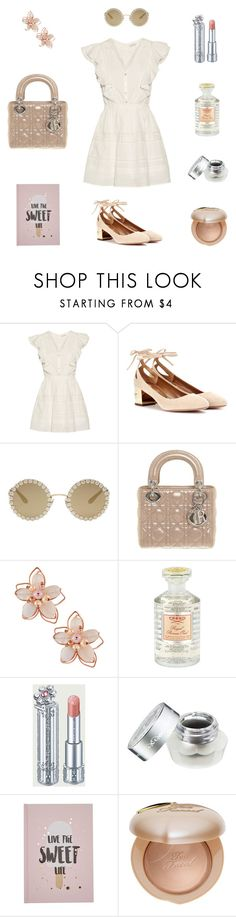 """""""Sweet Life"""" by lusstyles ❤ liked on Polyvore featuring LoveShackFancy, Aquazzura, Dolce&Gabbana, Christian Dior, NAKAMOL, Creed, Morgan Lane and Too Faced Cosmetics"""