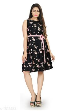 Dresses Printed Black Knee length Crepe Dress Fabric: American Crepe Sleeves: Sleeves Are Included Inside Size: XS -34 in, S - 36 in, M - 38 in, L - 40 in, XL - 42 in Length: Up To 40 in Type: Stitched Description: It Has 1 Piece Of Women's Dress With Free Belt Work: Printed Sizes Available: XS, S, M, L, XL *Proof of Safe Delivery! Click to know on Safety Standards of Delivery Partners- https://ltl.sh/y_nZrAV3  Catalog Rating: ★4.2 (10061)  Catalog Name: Myhra Stylish American Crepe Dresses Vol 3 CatalogID_196628 C79-SC1025 Code: 803-1512123-
