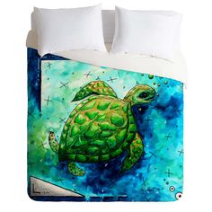 Madart Inc. Sea of Whimsy Sea Turtle Duvet Cover | DENY Designs Home Accessories