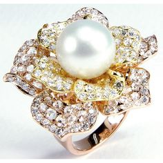 Kinetic Artwork Yellow and White Gold Ring with Diamonds and a Pearl